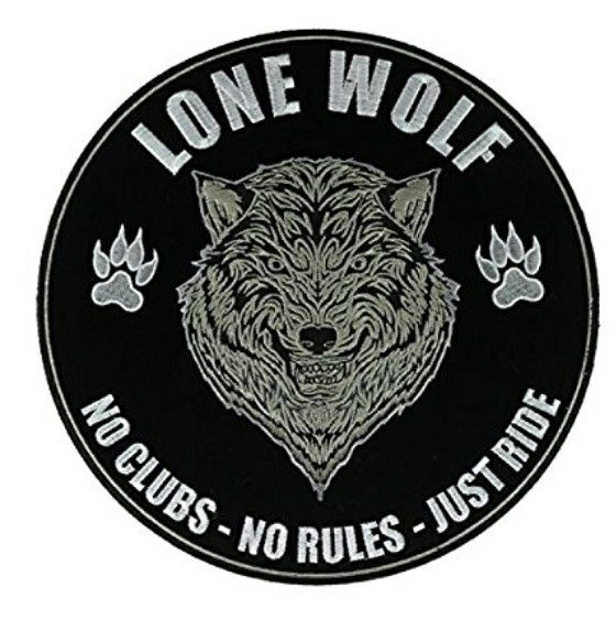 No Clubs No Rules Just Ride Lone Wolf Biker Motorcycle Patch