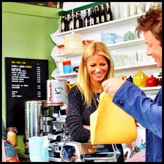 Gwyneth Paltrow: Gwyneth Paltrow made pasta during an appearance on friend Jamie Oliver's cooking show. Source: Instagram user jamieoliver