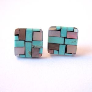 Whirling Logs Turquoise Earrings