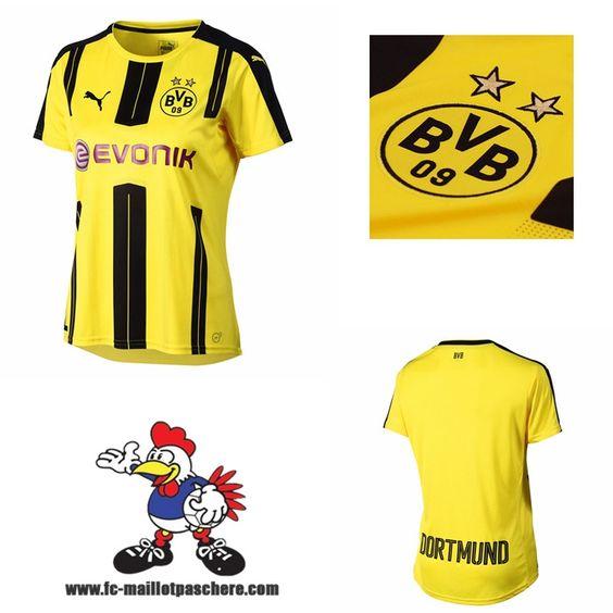 Nouveau Maillots Dortmund BVB Femme Domicile 2016 2017 Beau