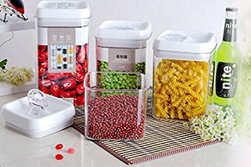 Easy Lock Airtight Kitchen Storage Containers 4 Extra Largexl Set Plastic Canisters With Vacuum Seal Lids White 18gallons 67l 0 3