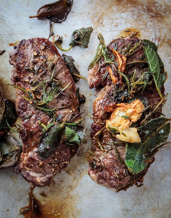 Lamb Steaks with Herbs + Caramelized Garlic
