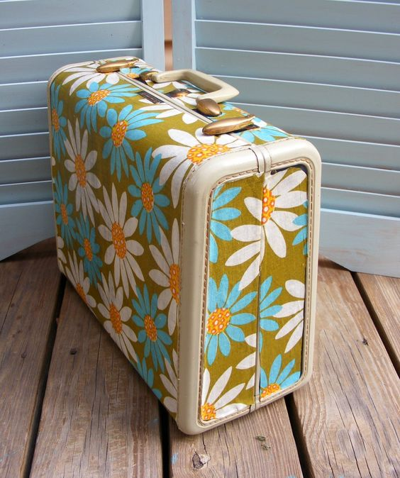 Quilted Cupcake's Mod Podge Suitcase Project. Wish I could buy this!