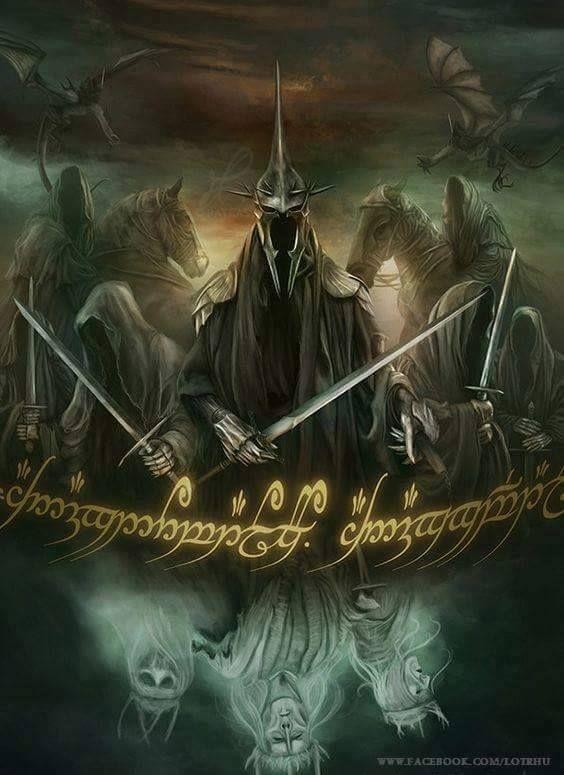 """Nazgûl: Os Nazgûl (da língua negra: Nazg """"anel"""", e Gûl, """"Espírito"""", """"Espectro"""") são personagens fictícios das obras de J. R. R. Tolkien, na Terra Média. Eram nove homens que sucumbiram ao poder de Sauron e quase atingiram a imortalidade como fantasmas, funcionários ligados ao poder do Um Anel. Eles são mencionados pela primeira vez em O Senhor dos Anéis, publicado originalmente em 1954-1955. O livro chama os Nazgûl de """"os mais terríveis servos"""" de Sauron. Escrita de Tolkien Os Nazgûl fora..."""