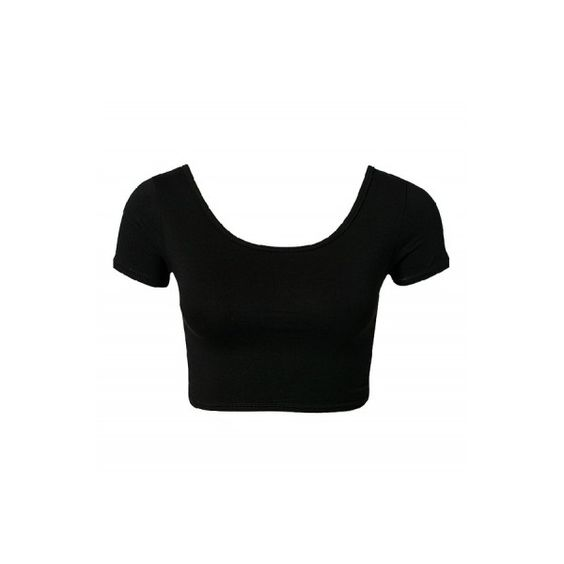 Crossed Back Short Sleeve Crop Tops Plain Black - Nextshe.com ($13) ❤ liked on Polyvore featuring tops