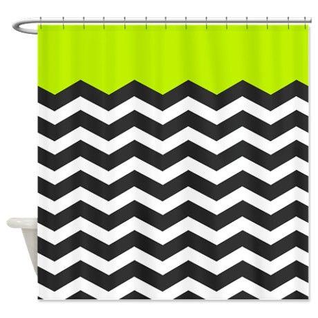Curtains Ideas coral chevron shower curtain : Lime Green Black and white chevron Shower Curtain | Chevron shower ...