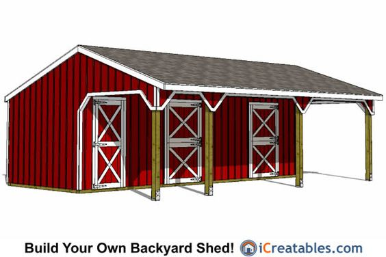 2 stall horse barn and tack room lean to shed plans for Two stall barn plans