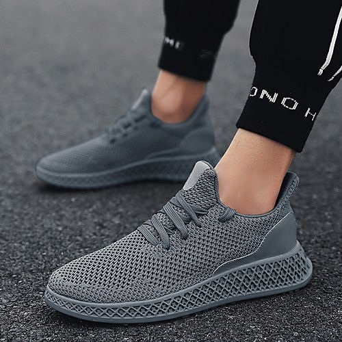 Men S Comfort Shoes Knit Mesh Summer Sporty Casual Athletic Shoes Running Shoes Walking Shoes Breathable Black Red Gray Non Slipping Shock Absorbi Casual Athletic Shoes Comfortable Mens Shoes Sneakers Men Fashion