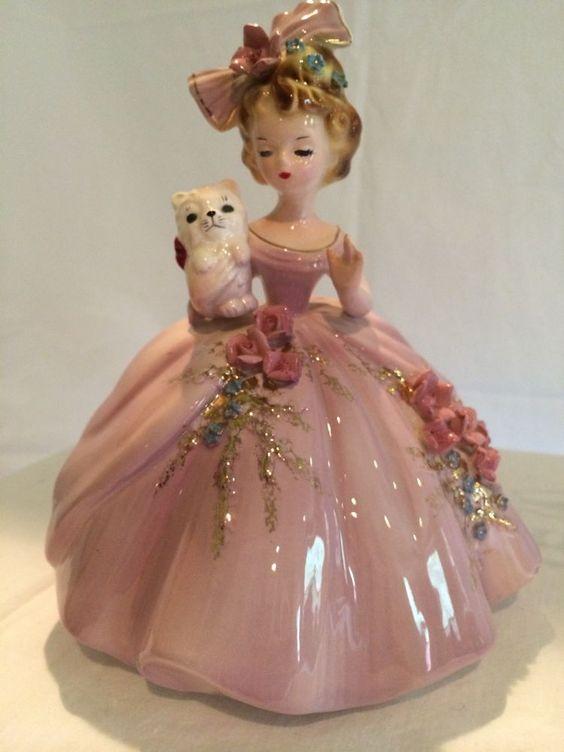 "Josef Originals - From the ""Favorite Things"" series Vintage Josef Originals figurine - Girl with white kitten"
