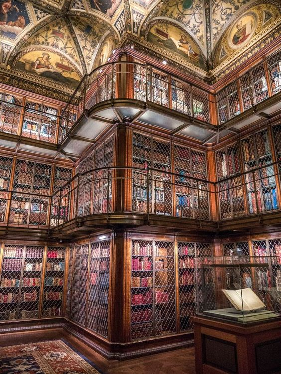 The morgan library interior has 3 floors of beautiful old books with great exhibitions showcasing the contents of the library. It is a must-see in NYC if you love books #nyc #library #newyork #museum