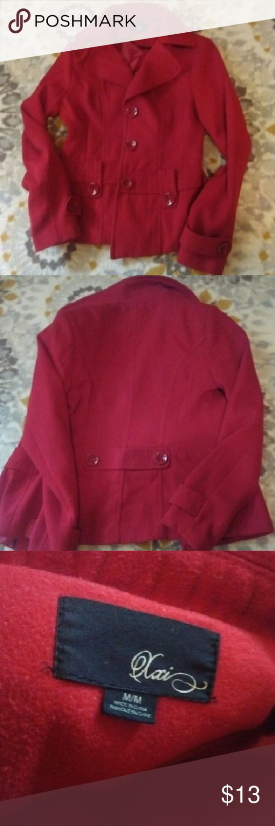 Forever 21 Red Pea Coat Forever 21 Red Pea Coat - Medium - only worn a few times - perfect winter coat! Forever 21 Jackets & Coats Pea Coats