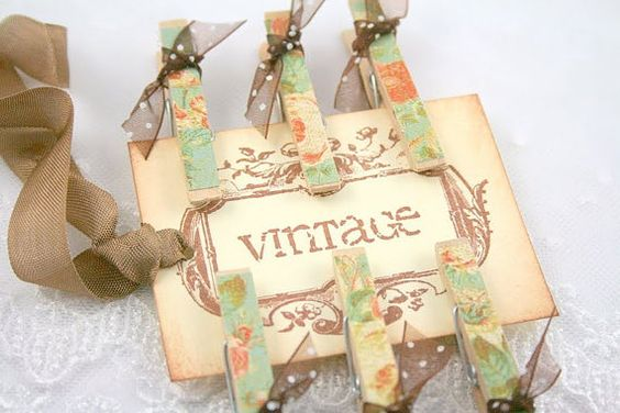altered clothes pins | Altered Clothespins and Gift Tag - Vintage Roses
