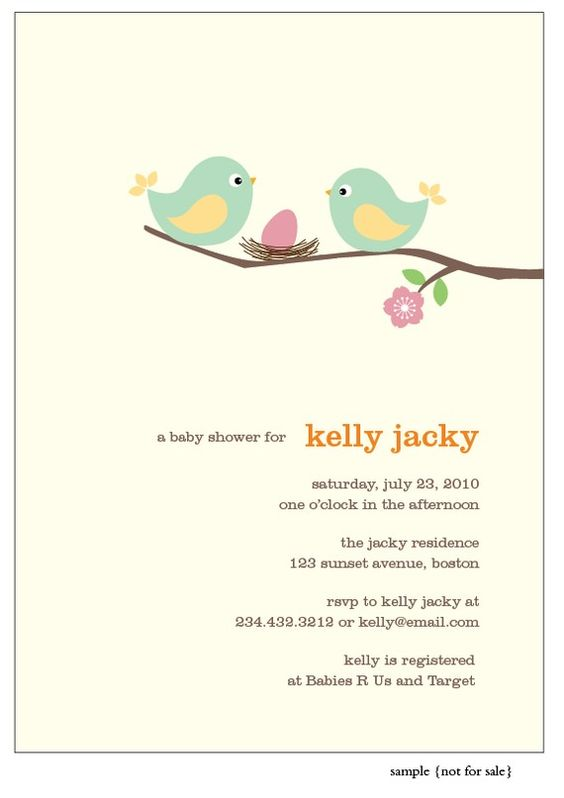 Bird Girl Baby Shower Invitation by lilsproutgreetings on Etsy - greeting email sample