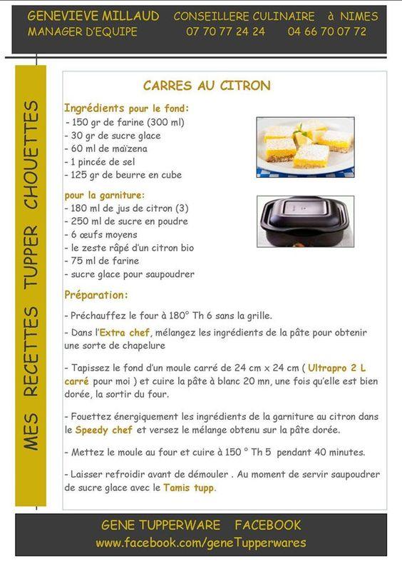Carrés au citron - recette Tupp