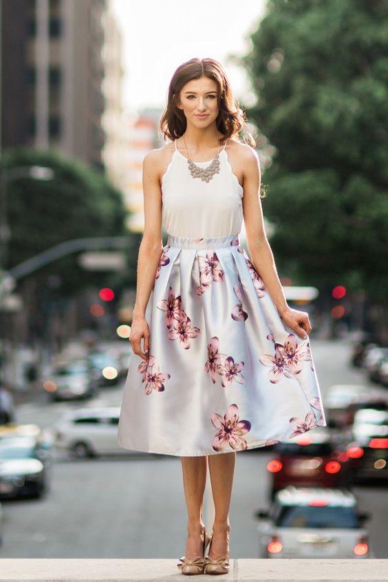 Grey Floral Midi Skirt, Printed Midi Skirts for Women, Pretty Midi ...