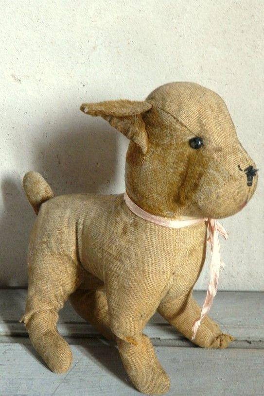 Antique French Stuffed Toy Dog Dog Toys Dinosaur Stuffed Animal
