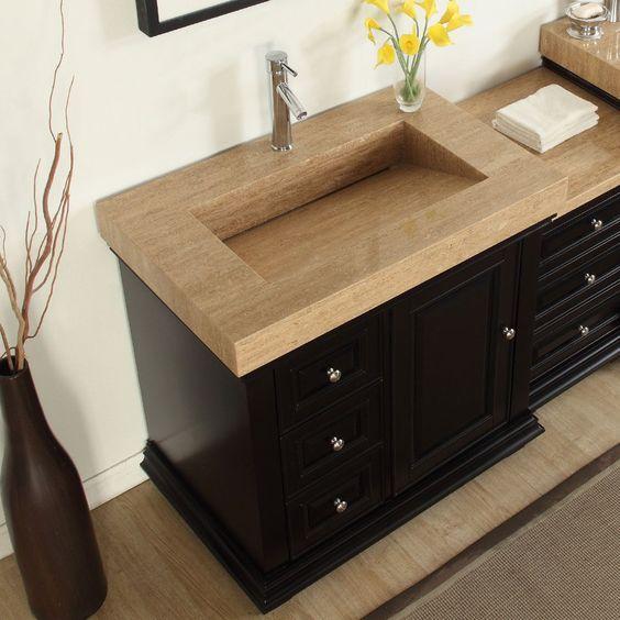 Silkroad exclusive 55 5 inch integrated travertine sink - 55 inch bathroom vanity single sink ...