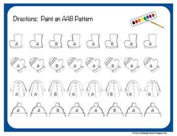 "$2.50Winter Pattern Perfect - Self Guided Pattern Activities, painting & coloring option.  AB, AAB, ABB, ABC & blank (with/without ""letter helpers"")"