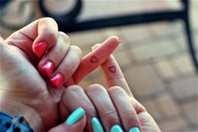 heart tattoo on pinky with your best friend--pink swear <3