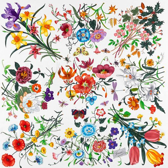 For the 2012 Salone del Mobile Wallpaper magazine commissioned Cole & Son to recreate the famous Flora scarf designed by Gucci as a gift for Princess Grace in 1966.: