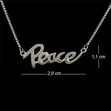 Corrente de prata com ródio e pingente escrito Peace