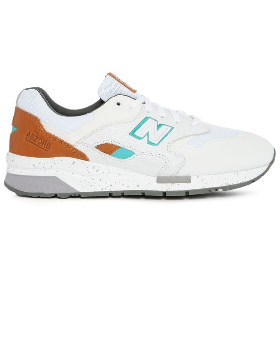Sneakers 1600 Cuir et Mesh Blanc et Orange