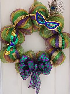 Poly Deco Mesh Mardi Gras wreath with peacock feather mask