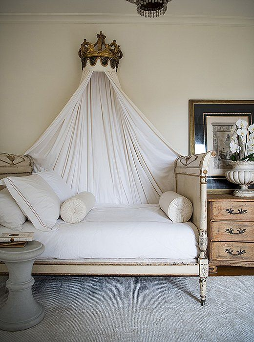 Classic French interior design decorating ideas and timeless design! Tara puts antique beds in just about every room - this Directoire piece, she says, is so enveloping, so sheltering, and so much fun to crawl into at the end of the day.