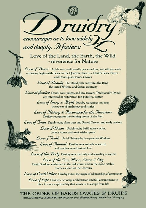 Druidry encourages us to love widely and deeply. It fosters: Love of the Land, the Earth, the Wild ~ reverence for Nature. Love of Peace ~ Druids were traditionally peace-makers, and still are: eac…