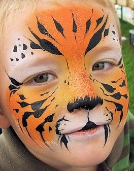 Face painting, animals, tiger, brush strokes
