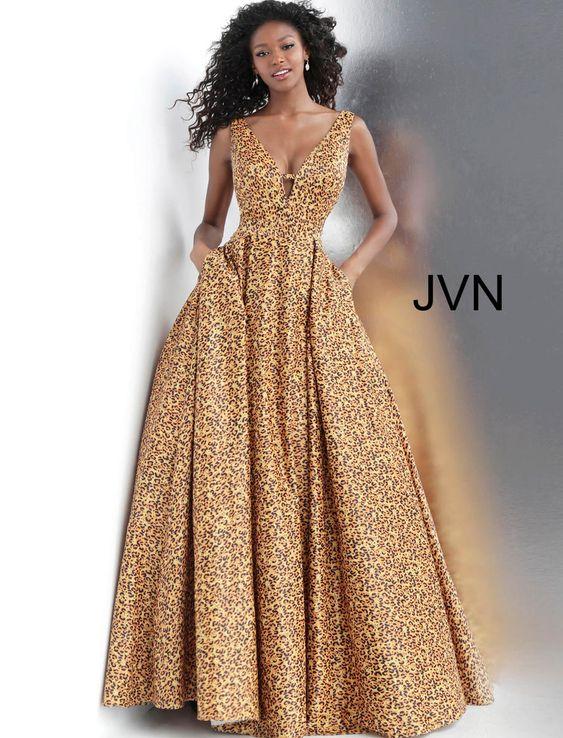 #JVNCollection #JVNProm2019 #AnimalPrint #PlungingNeckline #Ballgown #GirliGirlBoutique