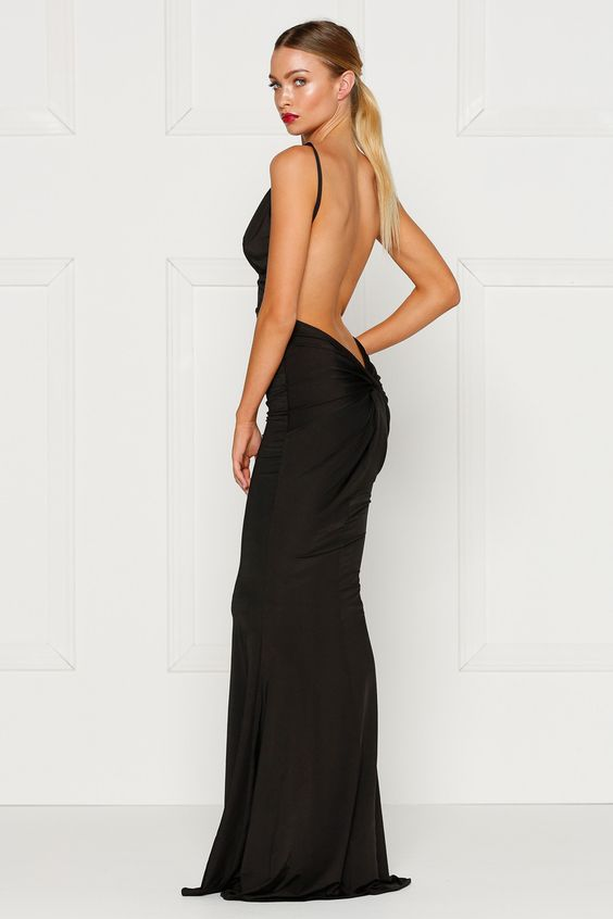 Alamour The Label PENELOPE Black Low Back Formal Gown Dress