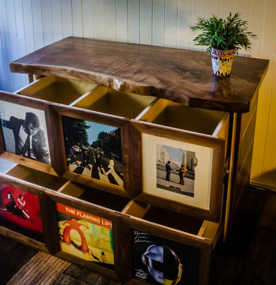 Record Display Amp Storage Cabinet Media Console With By