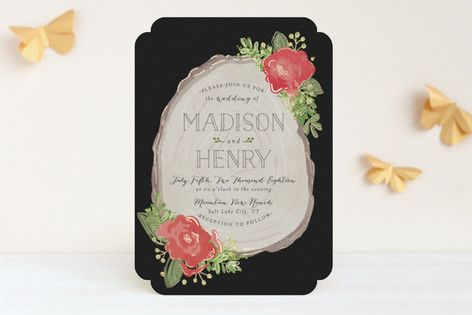 """""""Rustic Wooded Romance"""" - Floral & Botanical, Rustic Wedding Invitations in Bluebell by Pistols."""
