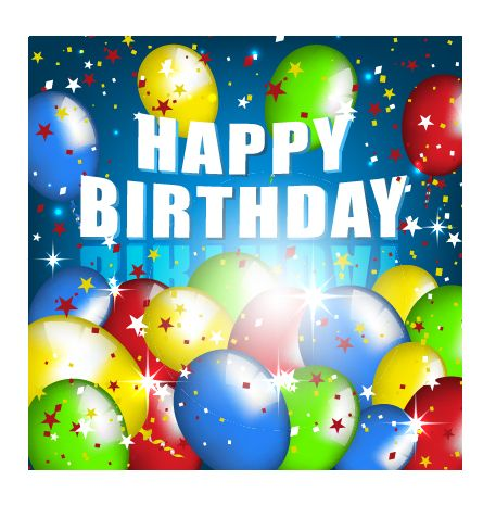 Balloons with confetti happy birthday cards vector 02 – Birthday Cards Balloons