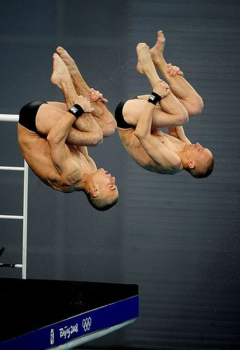 Patrick Hausding and Sascha Klein of Germany compete in the 10m synchronized diving competition at the Beijing 2008 Olympics.