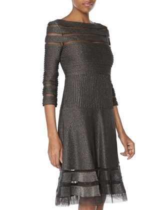 Mesh Ribbed Three-Quarter-Sleeve Cocktail Dress, Shadow by Tadashi at Neiman Marcus Last Call.