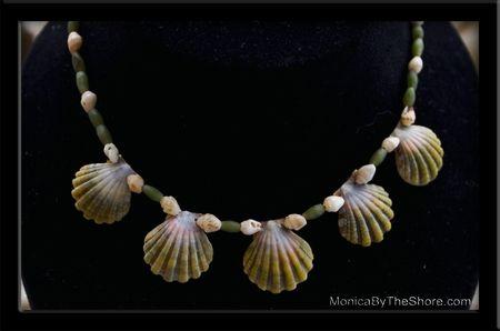 5 Rare Green Sunrise Shells, Jade Bead & Momi Shell Choker Necklace