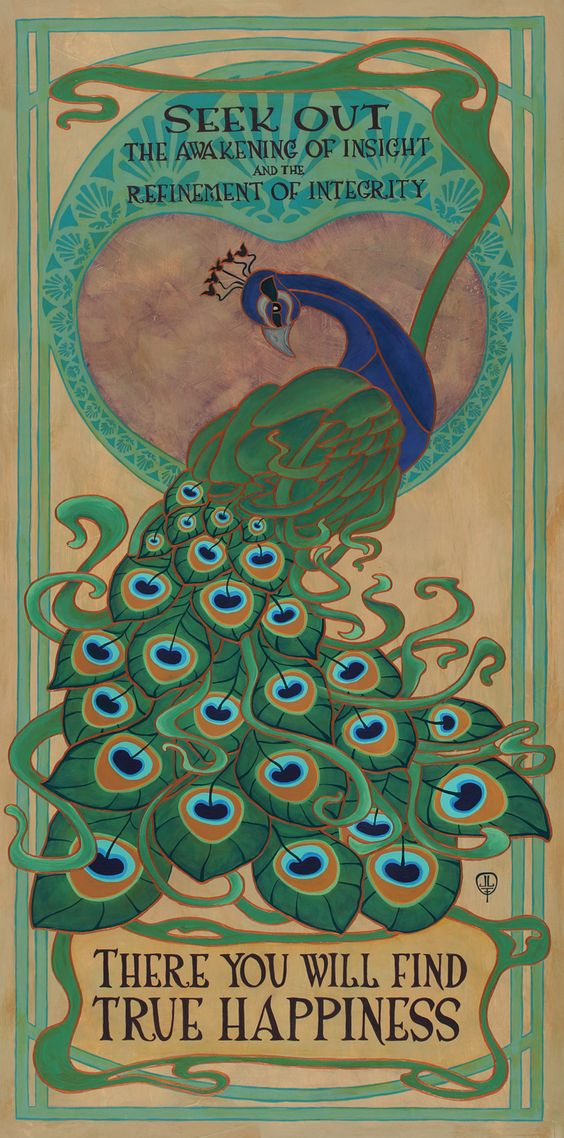 peacock Art  | Acrylic on panel. This Art Nouveau inspired painting also incorporates ...