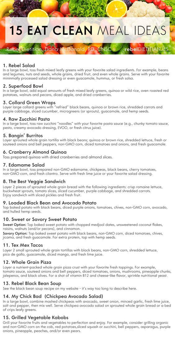 15 Eat Clean Meal Ideas | rebelDIETITIAN.US [Vegan, Paleo]