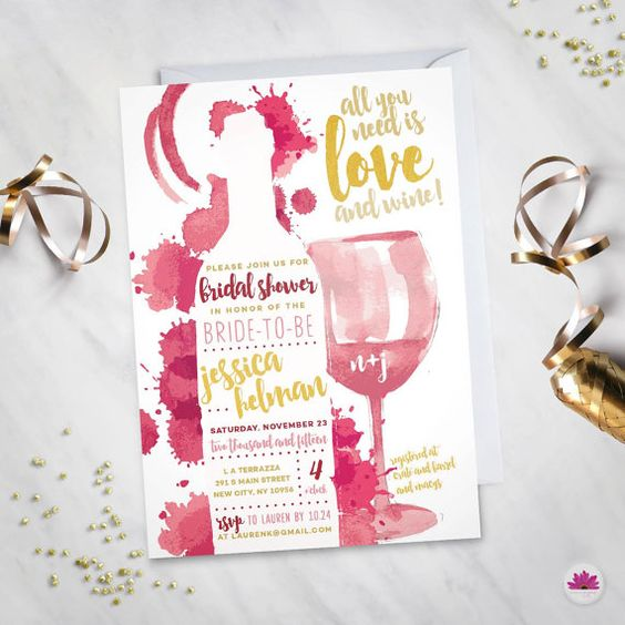 1000 ideas about bridal shower wine on pinterest themed for Themed bridal shower invitations