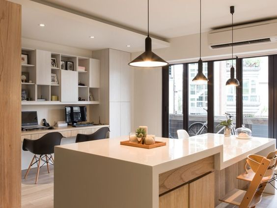 Minimalist Kid-friendly Apartment For Urban Family: Work Space Next To The Kitchen Smart Idea Lighting Pendant Lamps On Ceiling Two Black Chairs White Countertop Parquet Floor ~ primadr.com Apartment Inspiration