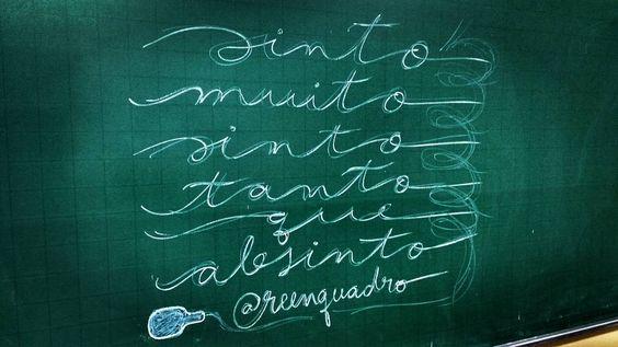 "Sinto demais mas não sinto de segurança! // ""Sinto muito sinto tanto que absinto! // #feel #feeling #chalk #chalkboard #chalklettering #giz #mensagem #frases #love #life #vida #design #amazing #amor #pensamentos #instadaily #poema #art #instagood #inspiration #illustration #handmade #me #caligrafia #lettering #poesia #decor #quadro #reenquadro"
