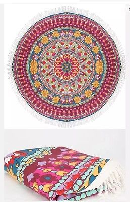 Billabong Poolside Rays Round Fringe Beach Picnic Blanket Or Tablecloth