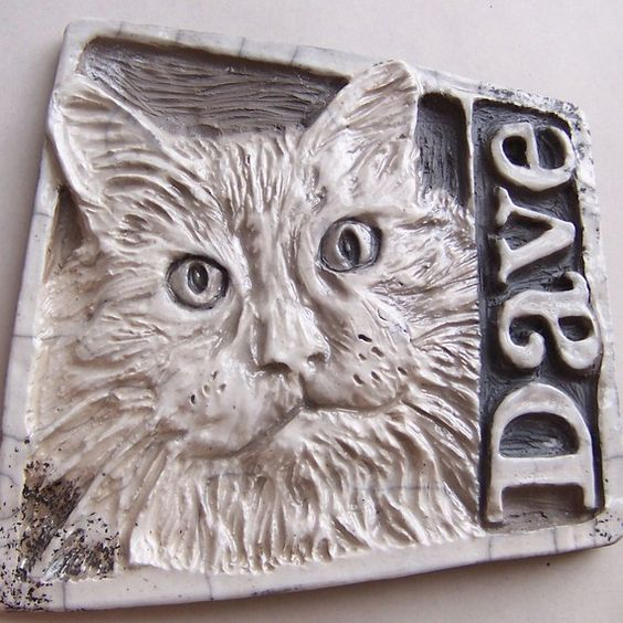 custom portrait tile clay relief hand carved cats. Black Bedroom Furniture Sets. Home Design Ideas