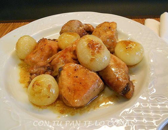 Pollo con cebollitas a la miel