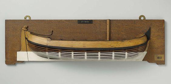 Anonymous   Halfmodel van een jacht, Anonymous, 1780 - 1820   Mallenmodel (stuurboord) van een eenmast platbodem jacht. De huid boven het barkhout is gesloten. Het achterdek is iets verhoogd. Rond achterschip, breed roer met versierde roerkop en helmstok over dek. De zeeg loopt naar beide uiteinden op, één barkhout.