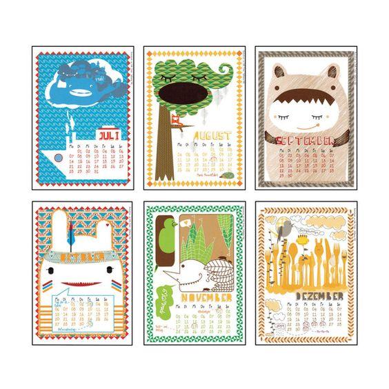 Hello friend... Illustrierter Wandkalender 2014 von banjado auf DaWanda.com