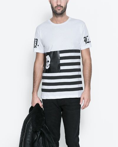 Zara Men's Skull | Black & White Striped T Shirt | #Style ...