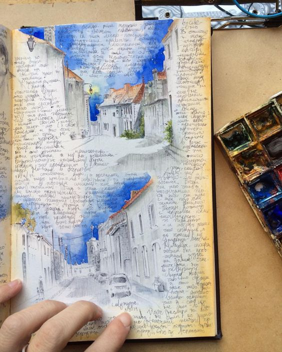 #drawanyway - one more page from my #sketchbook - drawings from the south of France, ballpoint pen and watercolor